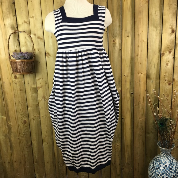 Vintage Dresses & Skirts - Vintage Sisley Navy & White Striped Tank Dress